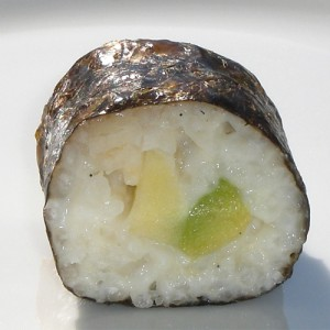 Süßes Sushi mit Apfel